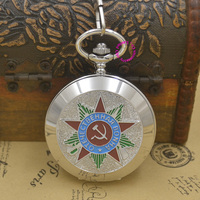 Wholesale Russian Vingtage Silver Soviet BOLSHEVIK Mechanical FOB Pocket Watch Men Military Pendant Watches Ancient Black