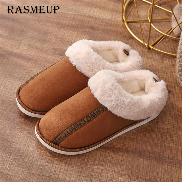RASMEUP Women Winter Warm Indoor Slippers 2018 Adults Women's Letter Printed Plush Flip Flops Home Shoes Cotton Home Slippers