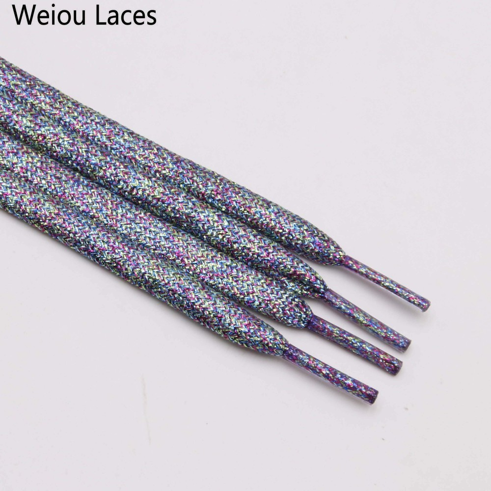 Weiou Shimmering Metallic Glitter Flat Shoelaces Sparkle Shiny Bootlaces For Canvas Sneakers Athletic Boots Shoes Free Shipping