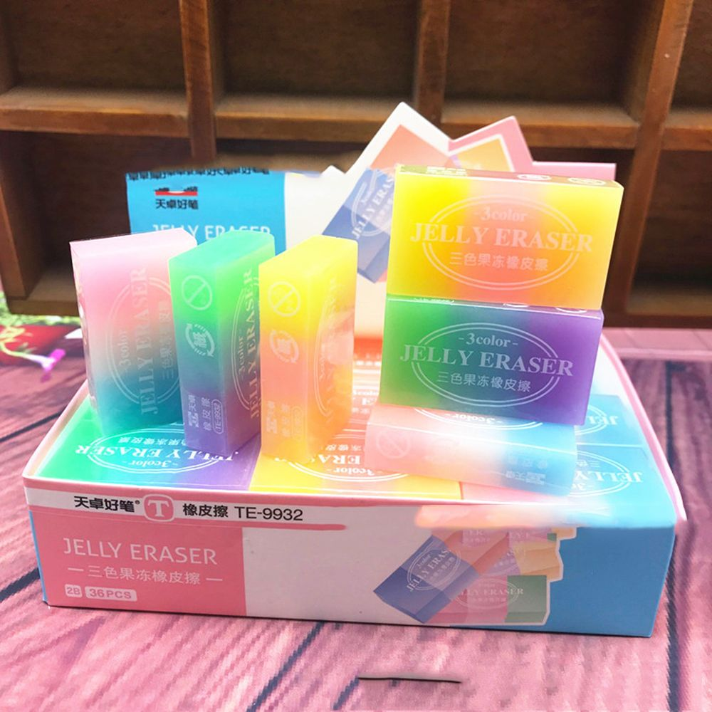 Cute Three-color Jelly Color Eraser Three-dimensional Crystal School Supplies Eraser Q Bomb Jelly Color Students Hot