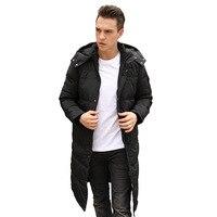 2018 Men's Winter Jacket Fashion Hooded Warm Jacket Casual Jacket Men's Long Over Knee Oversized Jacket 135kg Men's Wear