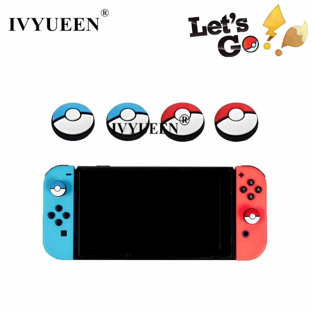 IVYUEEN For Nintend Switch NS NX Joy Con Thumb Grip Set Joystick Cap For JoyCon Controller Analog Stick Pokeball Red Blue Grip