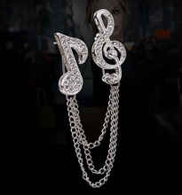 Elegant Chain Tassel Music Note Crystal Brooch Fashion Jewelry Silver Rhinestone Pin Brooches For Gift Unisex Jewelry