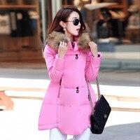 Echoine Winter Women Down Faux Fur Collar Padded Coat New Fashion Long Sleeve A Line Long