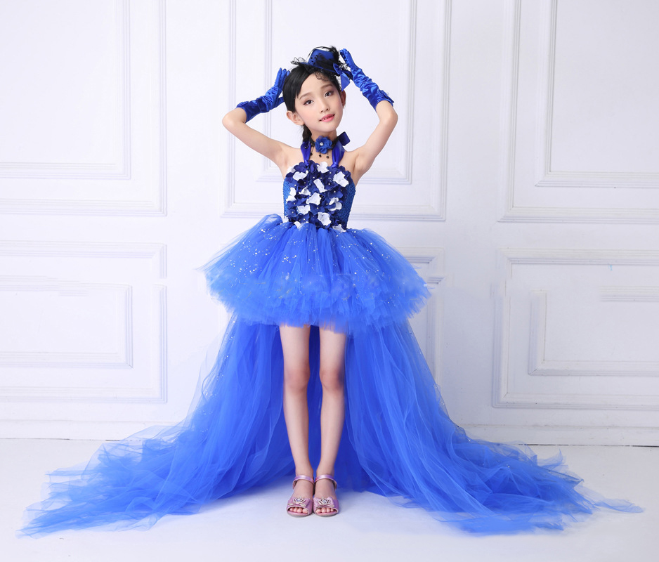 POSH DREAM Sequin Royal Blue Flower Girls Dresses for Party Mermaid Flower Kids Girls Tutu Dress with Train Tulle Kids Clothes