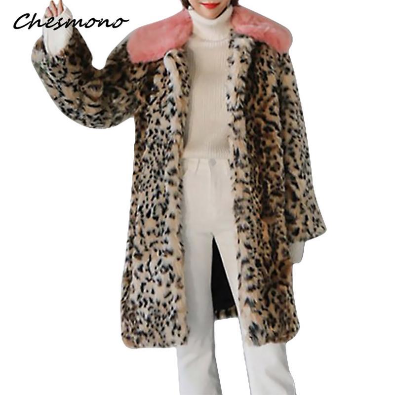 Femme De Léopard Tournent Casaco Le Manteaux Vers Épaissir Plus Fourrure Bas Ourwear Taille Vestes Chaud Mode Imprimé Femmes Faux Long SwP6Z