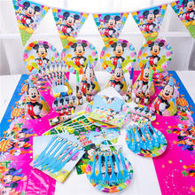 Minnie Mickey Mouse Disposable Tableware Set Paper Plate Napkins Cup Banner Birthday Party Decoration Kids Boy Party Supplies(China)