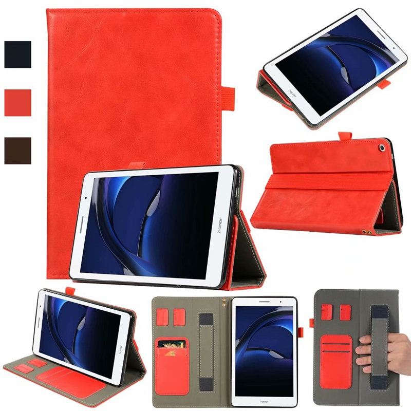 Book Flip Cover PU Leather Case For Huawei Mediapad T3 8 8.0 KOB-L09 KOB-W09 Tablet With Card Slots Hand Strap + Free Gift