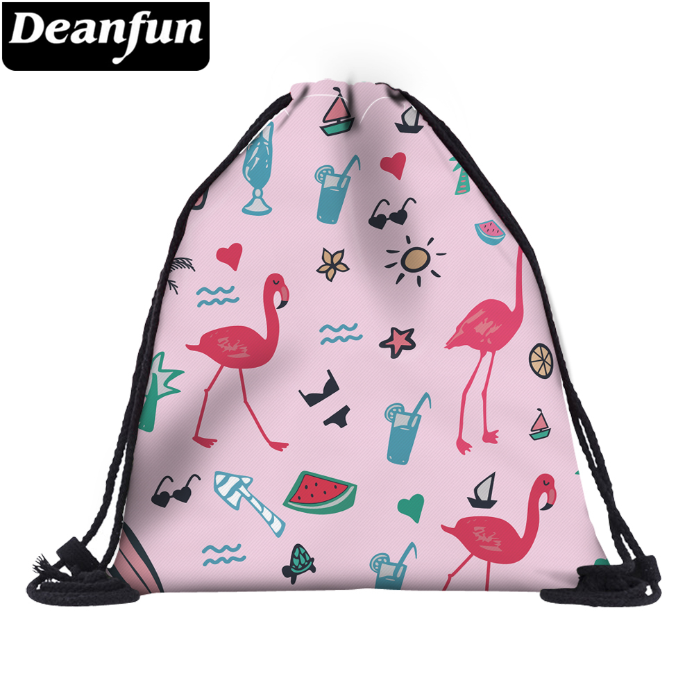 Deanfun Flamingo Drawstring Bags 3D Printing Pink Cute Gift For Girls School Travel 60088 #