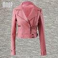 Розовый черный PU кожаные куртки женщин короткая куртка мотоцикла искусственной кожи обрезанные весте ан cuir femme LT458 Бесплатная доставка
