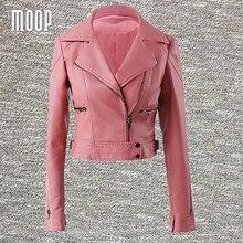 Pink black PU leather-based jackets ladies quick motorbike jacket fake leather-based cropped veste en cuir femme LT458 Free transport
