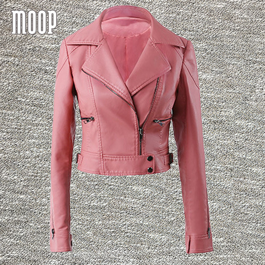 pink black pu leather jackets women short motorcycle. Black Bedroom Furniture Sets. Home Design Ideas