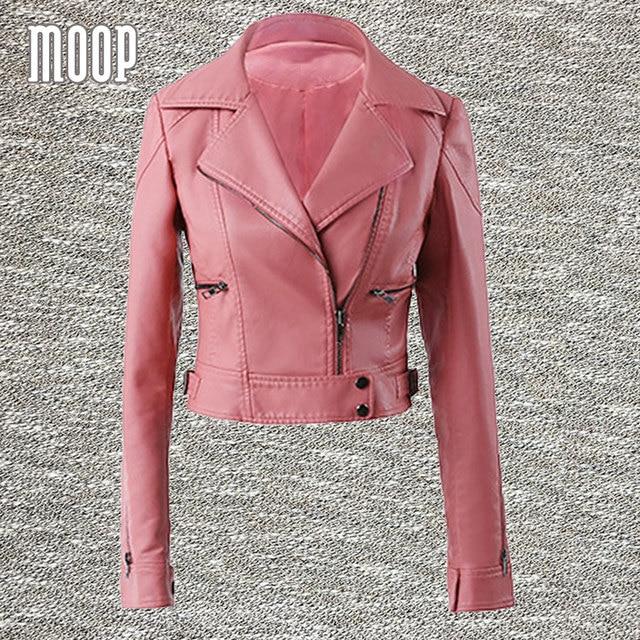 Pink black PU leather jackets women short motorcycle jacket faux ...