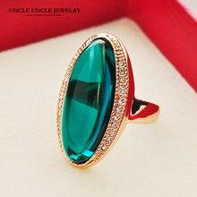 Модный стиль вечерние кольца Розовое золото Цвет Зеленый Кристалл длинной формы кольцо на палец для Леди Рождественские подарки оптом Прямая поставка