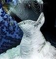 Элегантный белый милая молния vestido noiva свадебное платье свадебное платье люкс кристалл русалка свадебные платья 2016 сексуальное