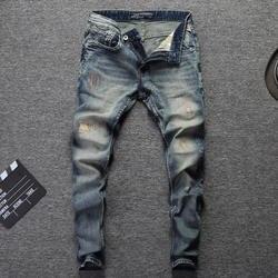 Итальянские модные мужские джинсы ретро стирка вышивка классические джинсовые брюки уличная хип-хоп джинсы homme 98% хлопок рваные джинсы