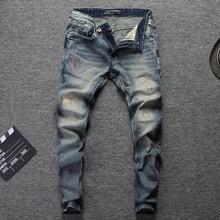 Italian Fashion Men Jeans Retro Wash Embroidery Classical Denim Pants Streetwear Hip Hop Jeans homme 98% Cotton Ripped Jeans Men недорого