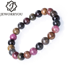 6-10mm Natural Tourmaline Bracelet Femme Colorful Stone Ladies Bead Women Jewelry Gift