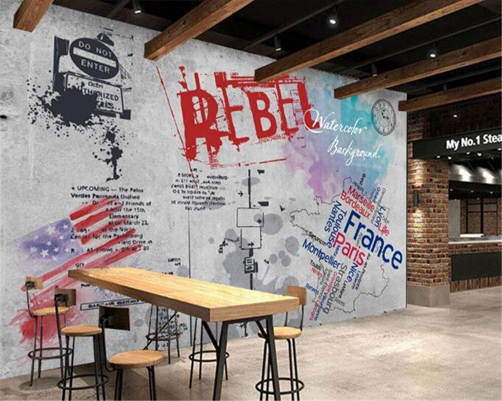 Beibehang Graffiti 3d Papel De Parede Murais Decorativos Para Casa  ~ Papel De Parede Grafite Para Quarto