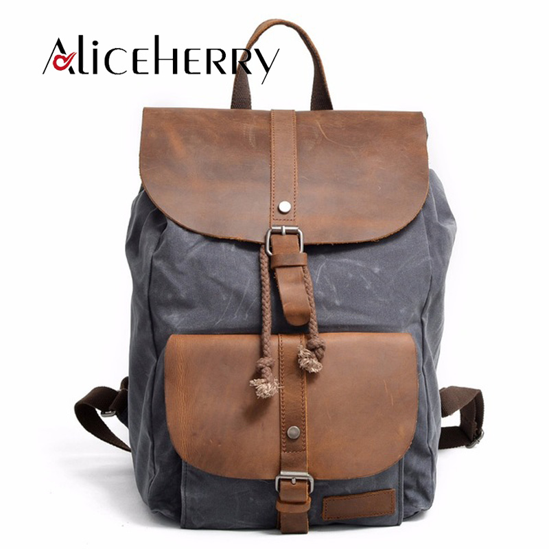 Canvas Leather Backpack Men Travel Bags Vintage Mochila Masculina Bolsa School Bag Male Laptop Notebook Backpacks Rucksack 13 laptop backpack bag school travel national style waterproof canvas computer backpacks bags unique 13 15 women retro bags