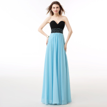Real Sample Light Blue Evening Dress A Line Chiffon