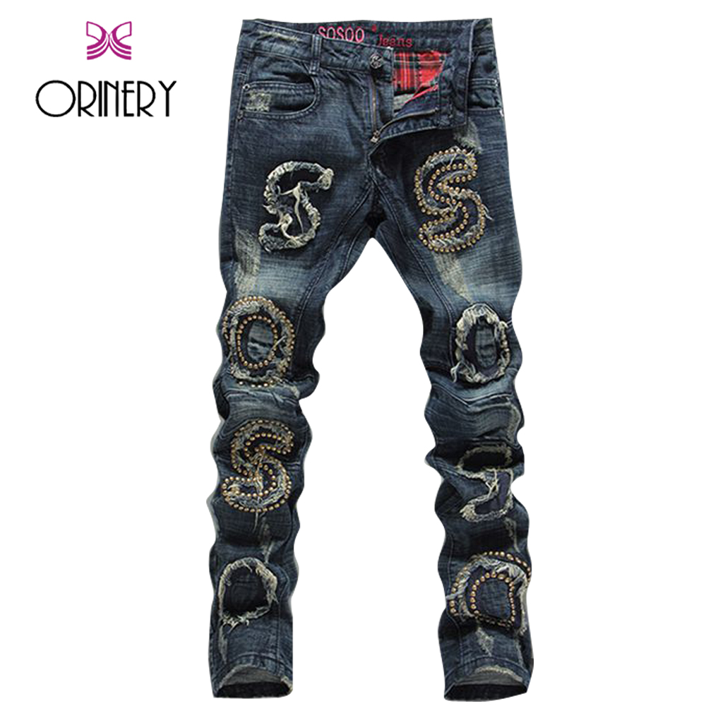 ORINERY Size 28-38 2017 New Designer Ripped Jeans Men High Quality Rivet Patchwork Denim Pants Fashion Brand Clothing Trousers