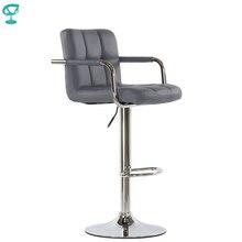 95360 Barneo N-69 экокожа кухонный стул барный стул с мягким сиденьем на газ-лифте стул серый высокий стул для барной стойки стул мебель для кухни кресло для визажиста в Казахстан по России
