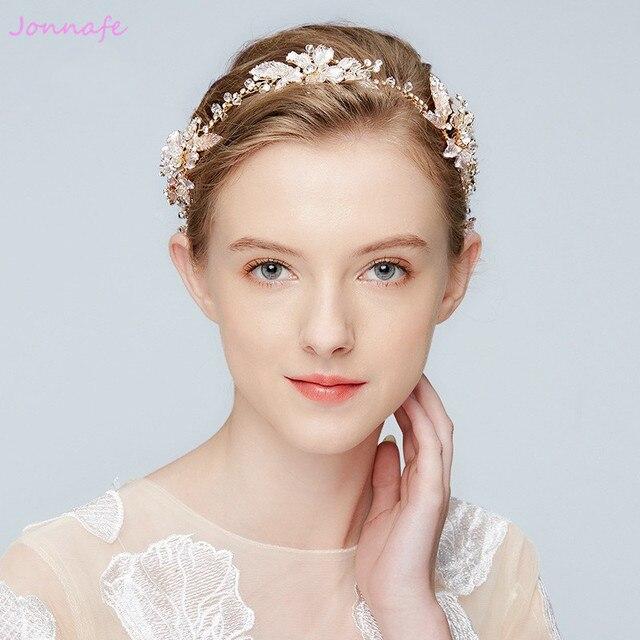 af92b38f9a3c19 Jonnafe Boho Kristall Braut Stirnband Tiara Gold Blatt Hochzeit Haar Crown  Zubehör Frauen Haar Ornamente Stück