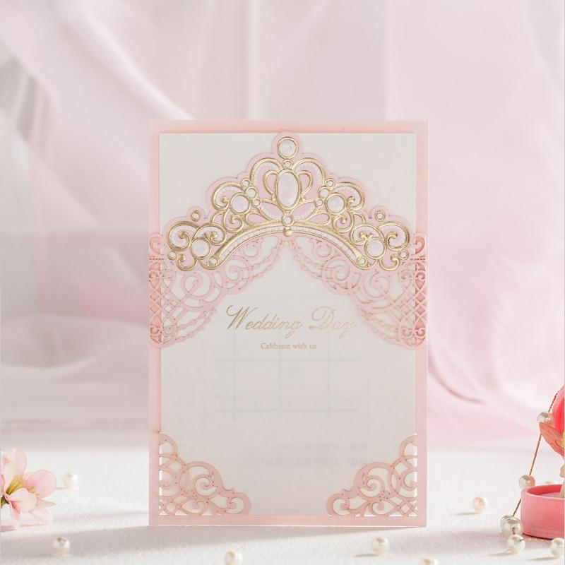Wishmade 12pcs/lot Laser Cut Pink Wedding Invitations Elegant Lace ...