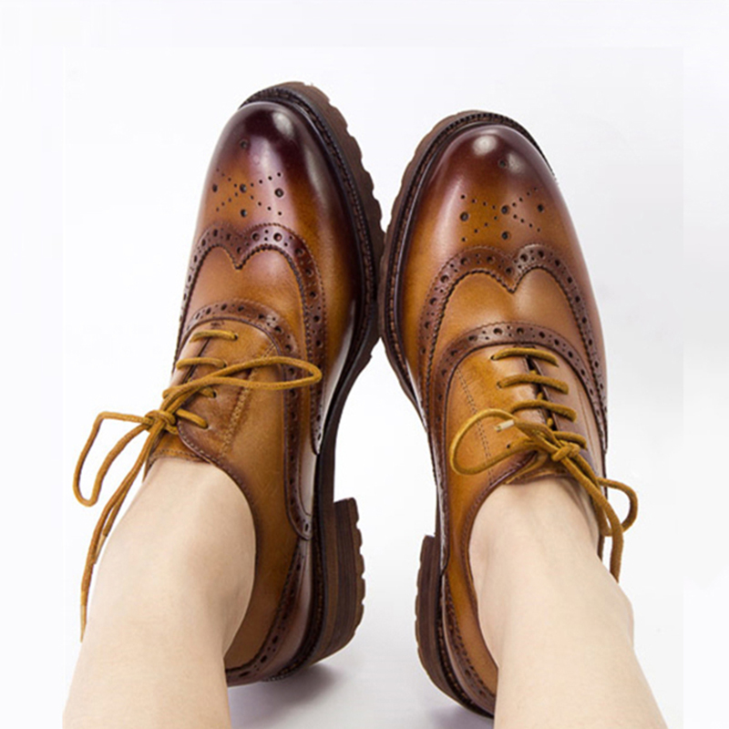 Yinzo Women s Flats Oxford Shoes Woman Genuine Leather Sneakers Ladies Brogues Vintage Casual For Women