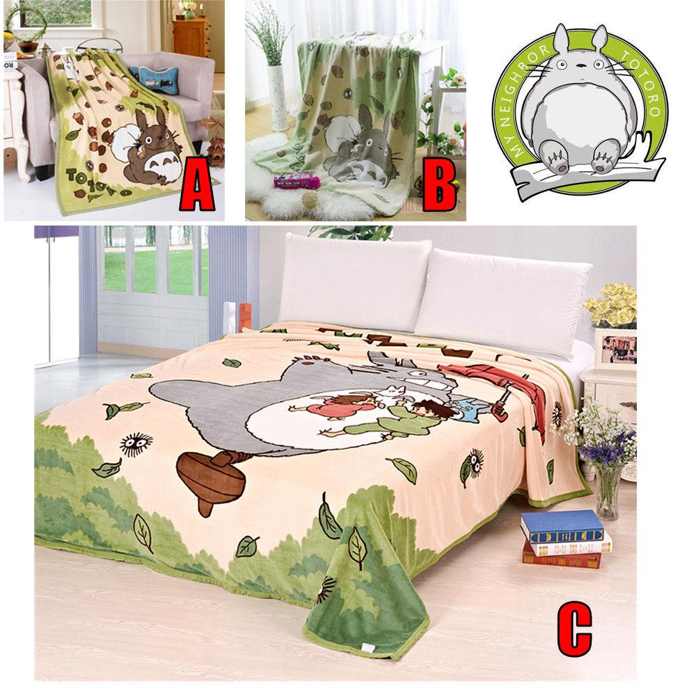 "39""x57""inch & 70""x94""inch Anime Ghibli  My Neighbor Totoro Soft Cozy Velvet Bedding Plush Throw Bedspread Blanket Warm Bed Gift"