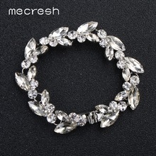 Mecresh Leaf Crystal Bridal Wedding Bracelet Women Silver Rose Gold Color Rhinestones Link Chain Bracelets Bangles MSL370