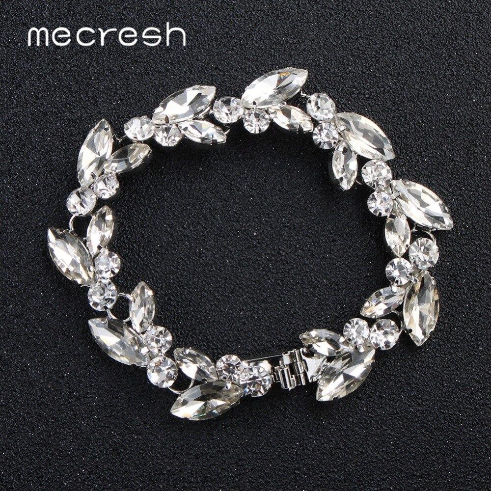 Mecresh feuille cristal mariée Bracelet de mariage femmes argent Rose or couleur strass lien chaîne Bracelets Bracelets MSL370