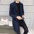 Tangnest 2017 otoño hombres de negocios de moda de rayas chaqueta de gabardina larga da vuelta-abajo solo pecho veste homme mwd056