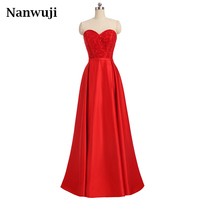 Sexy Red Sweetheart Open Back Lace Up Long Evening Dress 2017 New Arrival Crystal Beading Prom