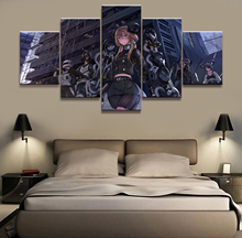 Home Decor Canvas Picture 5 Piece Womens Firearms Team Animation Painting Poster Wholesale