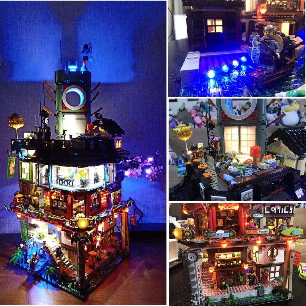 Kit de luz Led (sólo la luz) para lego 70620 Ninjago ciudad maestros de Spinjitzu Building (bloques conjunto no incluido)