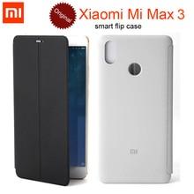 100% Original Xiaomi Mi Max 3 Case 2 Smart Flip PU Leather Cover genuine / Xiaomi Mi Max 3 MAX3 Tempered Glass Protector Film