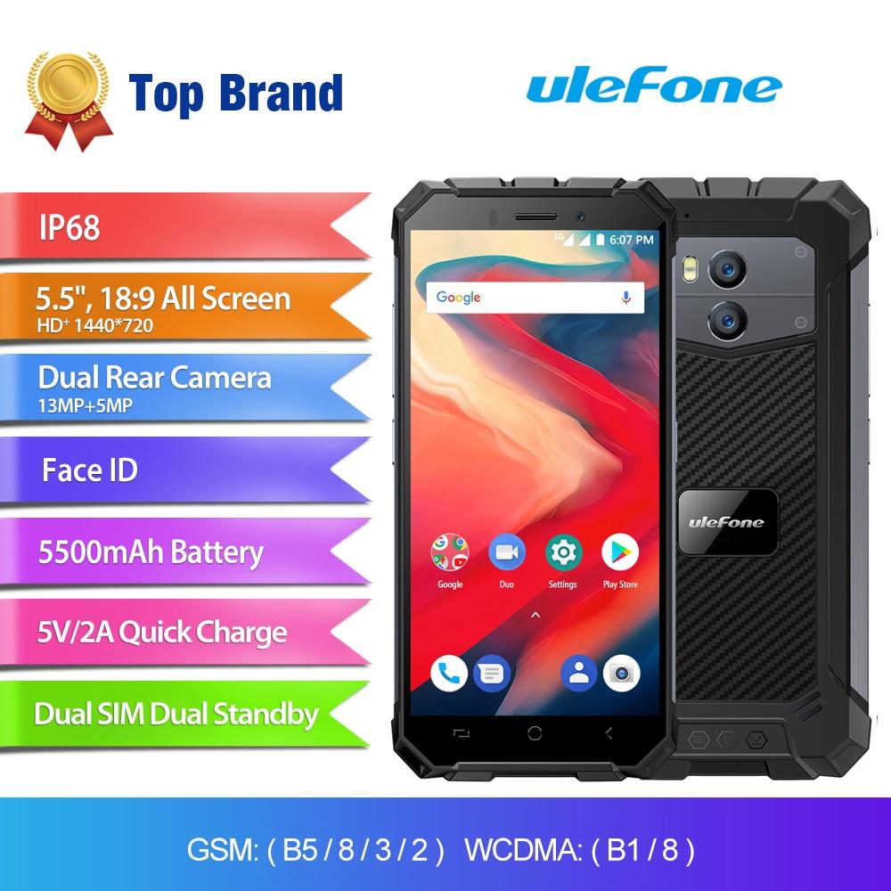 "Ulefone Armor X2 IP68 Waterproof Mobile Phone Android 8.1 5.5"" HD Quad Core 2GB+16GB NFC Face ID 5500mAh Smartphone"