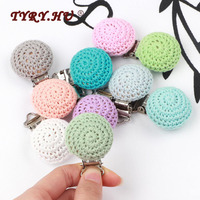 TYRY.HU 50pc Round Crocheted Clip Pacifier Clip Teething Necklace Wooden Beads DIY Pacifier Chain Tool Wooden teether Wholesale