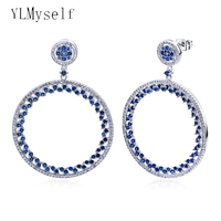 New look Big round earrings Blue cubic zirconia crystal jewelry jewellery large circle earring for women
