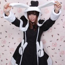 Cute Custom Tailored Lolita Coat Lovely Black/White Long Rabbit Ear Hooded Girl's Wool Jacket for Winter