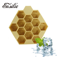 Bee Pattern Square Shape Silicone Ice Cube Maker Kitchen Eco-Friendly Ice Cream Mold Mini Multifunction Bar Party Ice Cube Tray