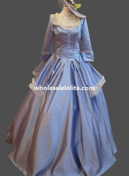 Исторический небесно-голубая сатиновая 18th века Мария Антуанетта период платье бальное платье