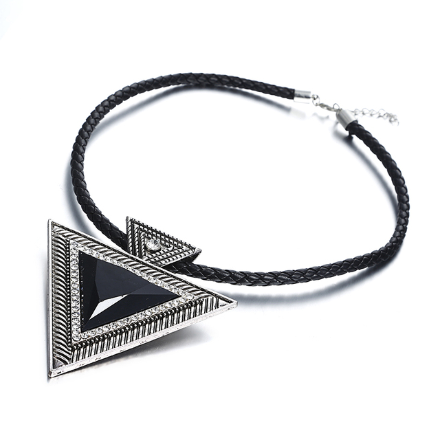 Match-Right New 2015 Hot Pendant Necklace Fashion Chokers Statement Necklaces Triangle Pendants Rope Chain for Gift Party