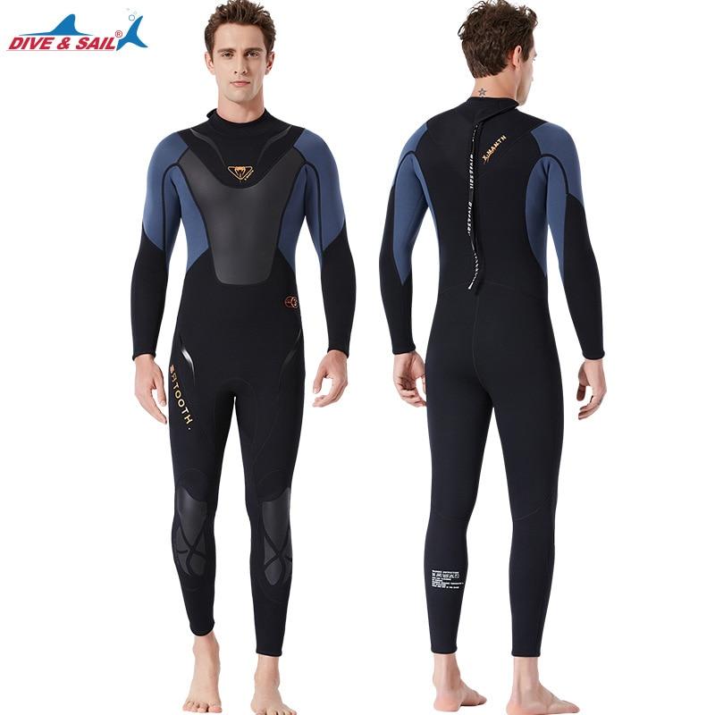 Высокое качество Цельный 3 мм черный Дайвинг костюм для триатлона неопреновый гидрокостюм для мужчин Плавание Серфинг подводное оборудование сплит костюмы - 2