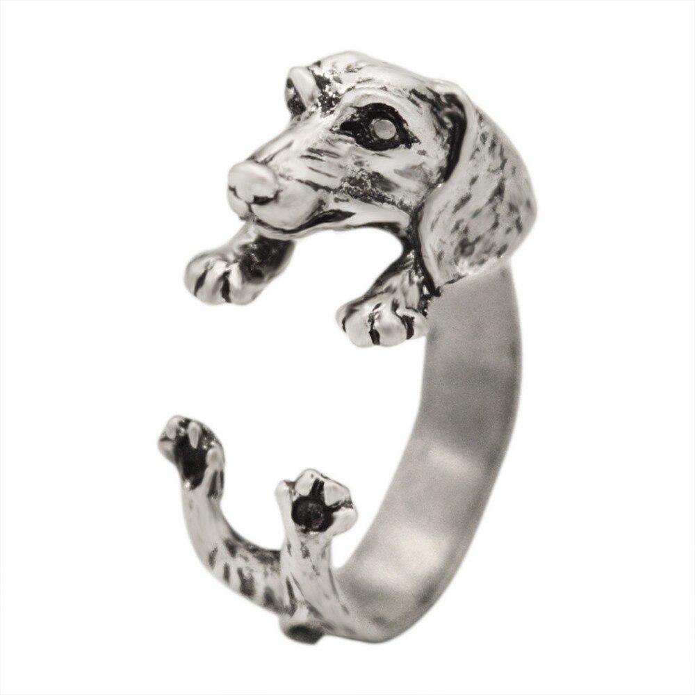 Kinitial 30 шт. Собака Такса Кольца щенка таксы животного кольцо ручной работы колбаса собака кольцо для Для женщин суставы подарок ювелирные из...