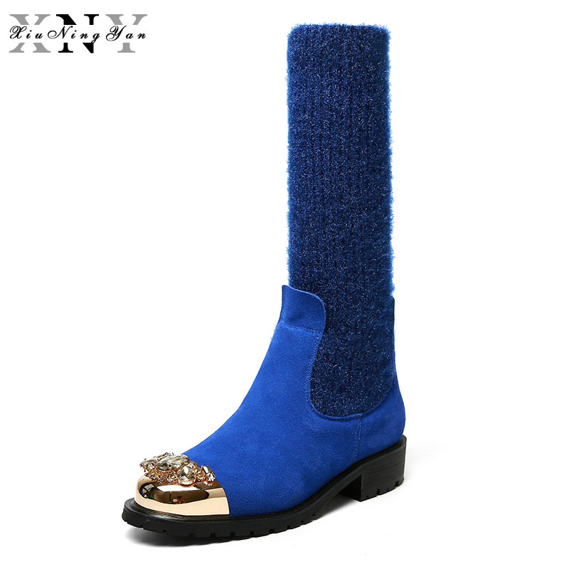 XiuNingYan 2017 Square Heel Women Mid-calf Boots Fashion Rhinestone Metal Round Toe Cow Suede Shoes Woman Knitting Boots Women memunia fashion women boots round toe genuine leather boots zipper square heel wool keep warm cow leather mid calf boots