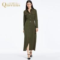 Queenus 2017 Autumn Women Maxi Casual Dress Turn Down Collar Long Sleeve Belt Single Breasted Dress