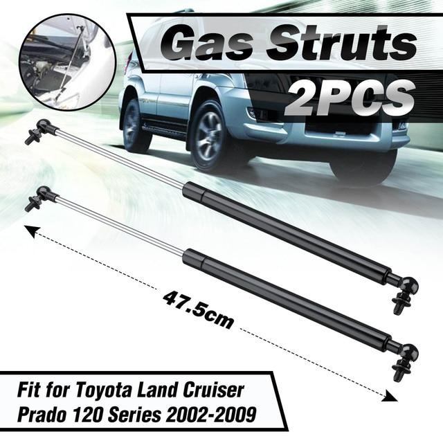 1 par de capucha de amortiguadores de Gas soporte para Toyota Land Cruiser Prado de la serie 120-02-09 de acero de 47,5 cm reemplazo conveniente y seguro,